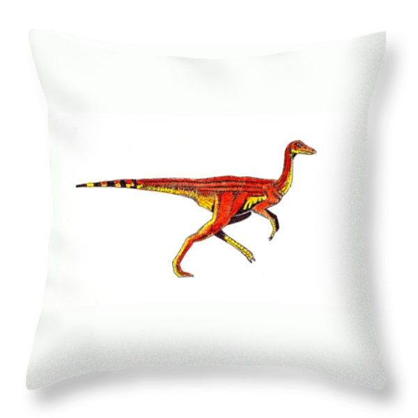 Struthiomimus Throw Pillow by Michael Vigliotti