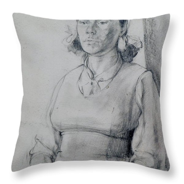 Study Of A Seated Girl. Throw Pillow by Harry Robertson