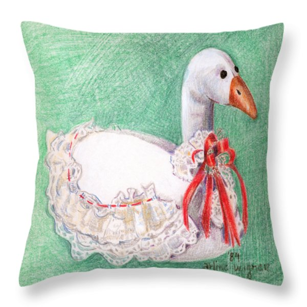 Stuffed Goose Throw Pillow by Arline Wagner