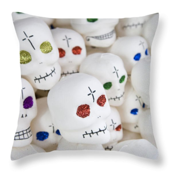 Sugar Skulls For Sale At The Day Throw Pillow by Krista Rossow