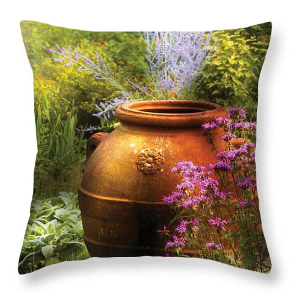 Summer - Landscape - The Urn Throw Pillow by Mike Savad
