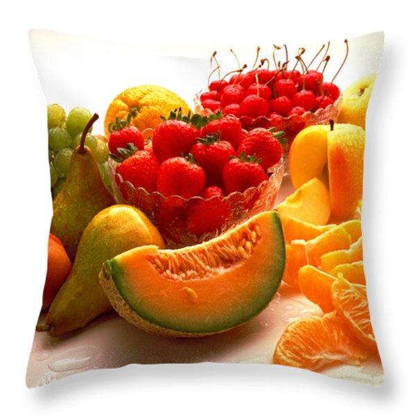 Summertime Fruit On White Throw Pillow by Thomas Firak