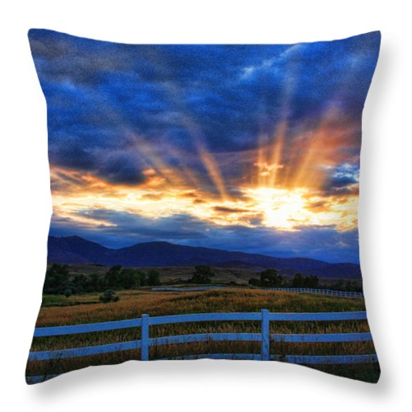 Sun beams in the sky at sunset Throw Pillow by James BO  Insogna