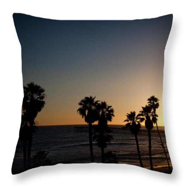 sun going down in california Throw Pillow by Ralf Kaiser