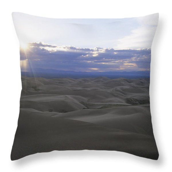 Sun Sets Over Miles Of Sand Dunes Throw Pillow by Taylor S. Kennedy