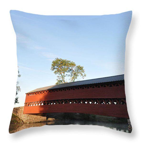 Sun Up at Sachs Covered Bridge Throw Pillow by Bill Cannon