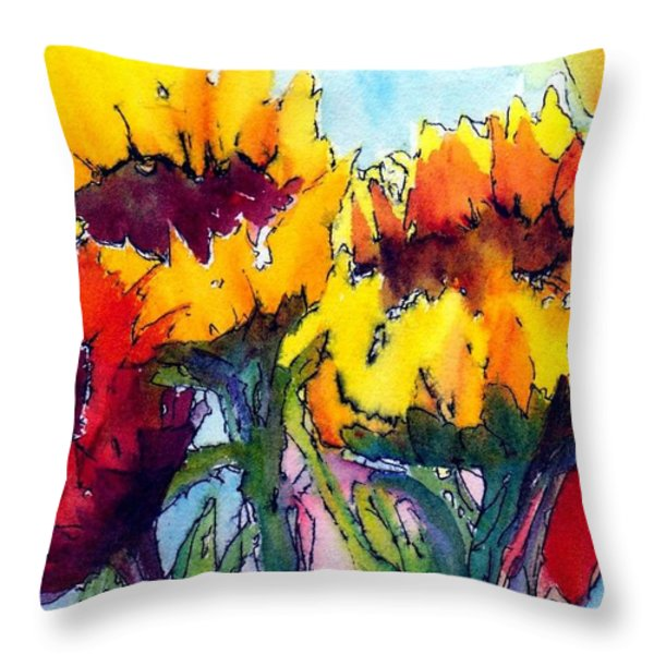 Sunflower Serenade Throw Pillow by Anne Duke