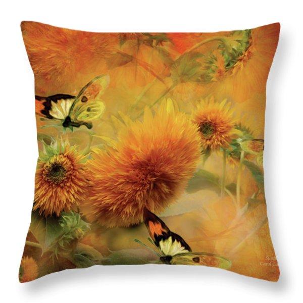 Sunflowers Throw Pillow by Carol Cavalaris