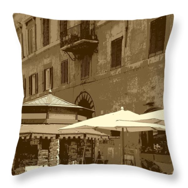 Sunny Italian Cafe - Sepia Throw Pillow by Carol Groenen