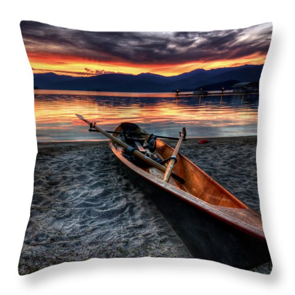 Sunrise Boat Throw Pillow by Matt Hanson