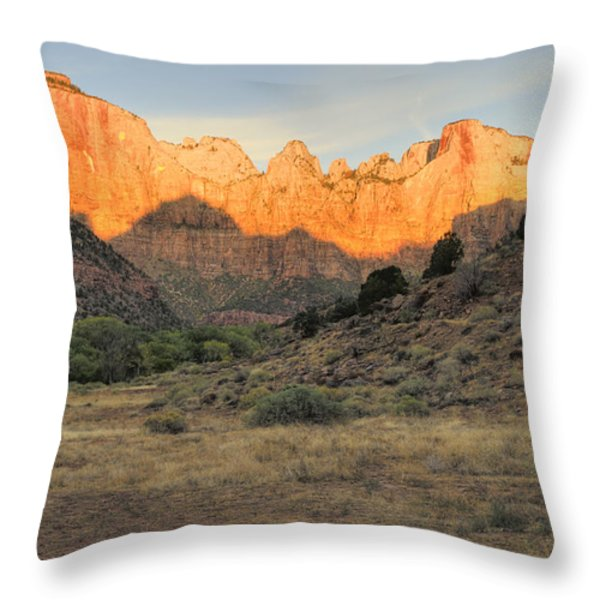 Sunrise On East Temple Throw Pillow by Sandra Bronstein
