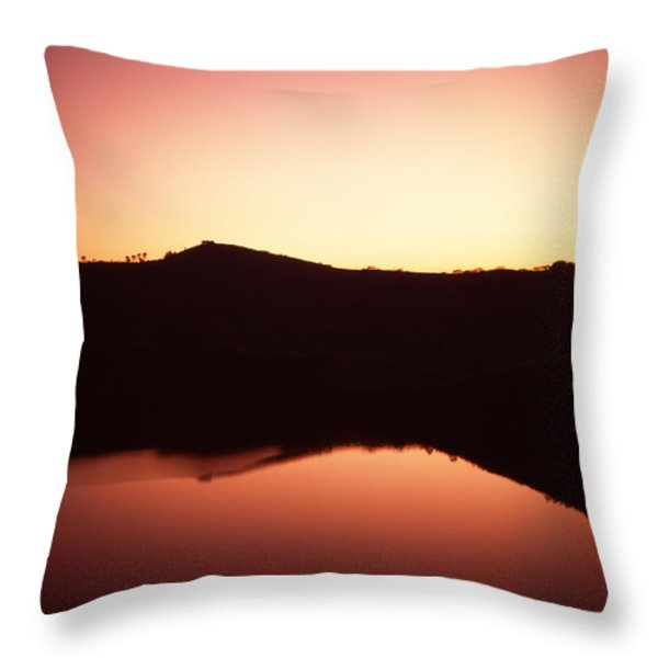 Sunrise On Nyambuga Crater Lake Throw Pillow by David Pluth