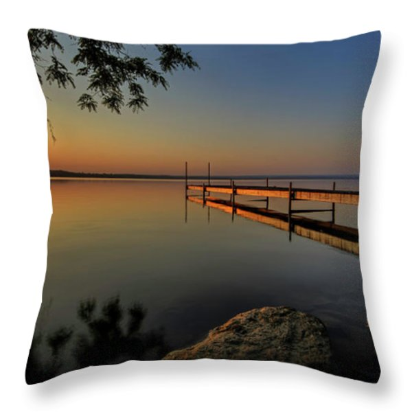 Sunrise Over Cayuga Lake Throw Pillow by Everet Regal