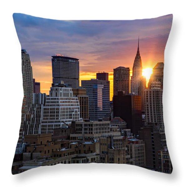 Sunrise Over Chrysler Throw Pillow by Janet Fikar