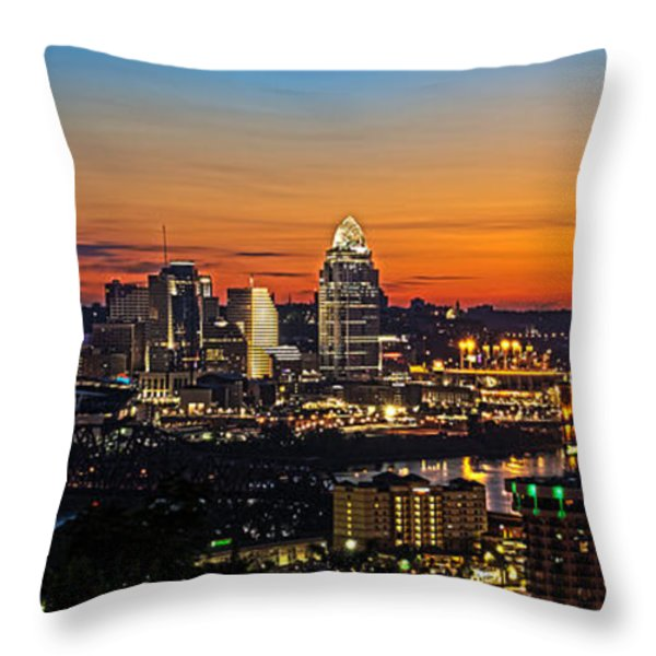 Sunrise over Cincinnati Throw Pillow by Keith Allen