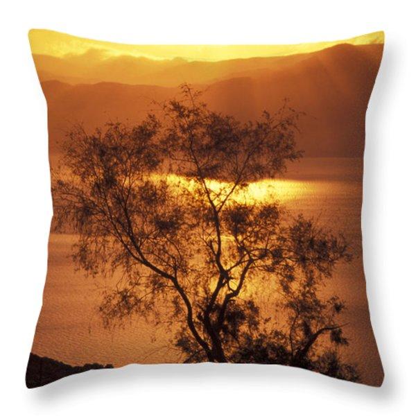 Sunrise Over Mount Nebo In Jordan Throw Pillow by Richard Nowitz