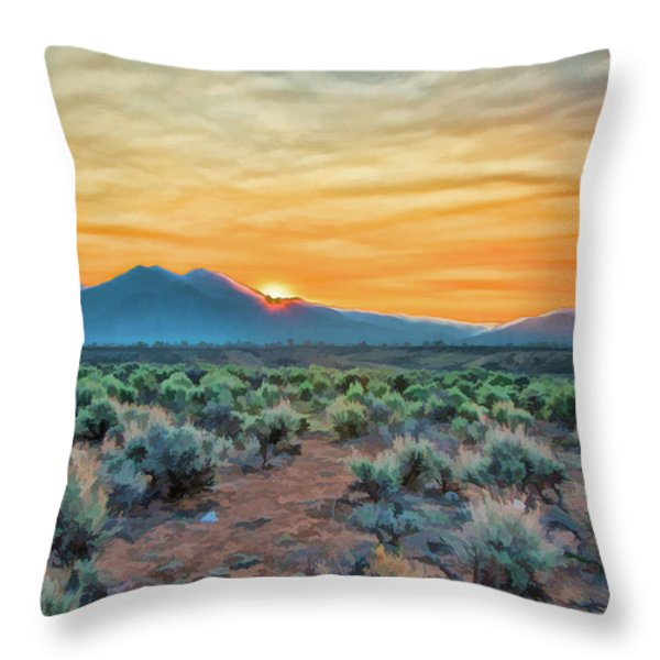 Sunrise over Taos Throw Pillow by Charles Muhle
