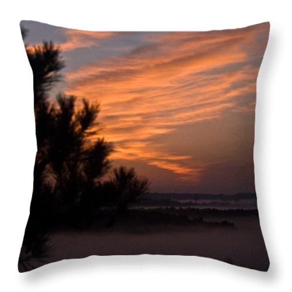 Sunrise Over the Mist Throw Pillow by Douglas Barnett