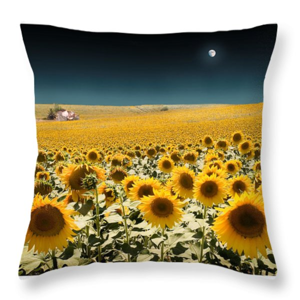 Suns And A Moon Throw Pillow by Mal Bray
