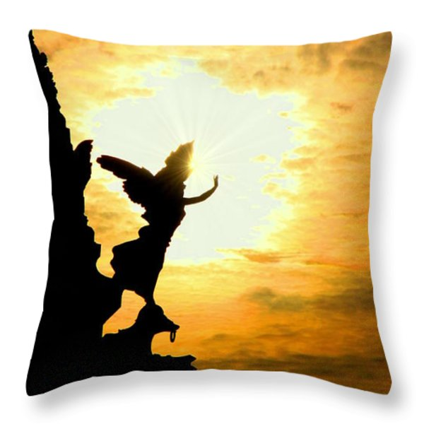 Sunset Angel Throw Pillow by Valentino Visentini