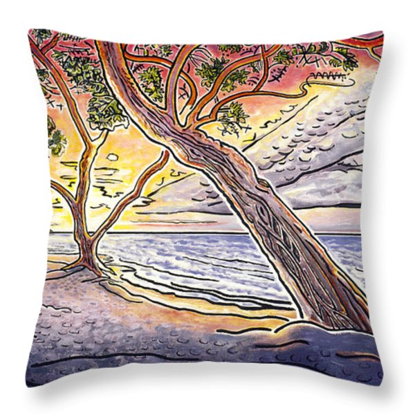 Sunset At Anaehoomalu Bay Throw Pillow by Fay Biegun - Printscapes
