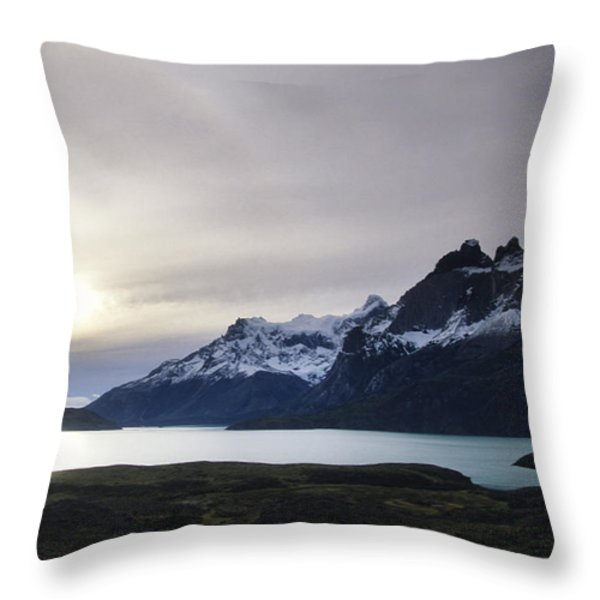 Sunset At Lago Pehoe  In The Cuenos Del Throw Pillow by Bill Hatcher
