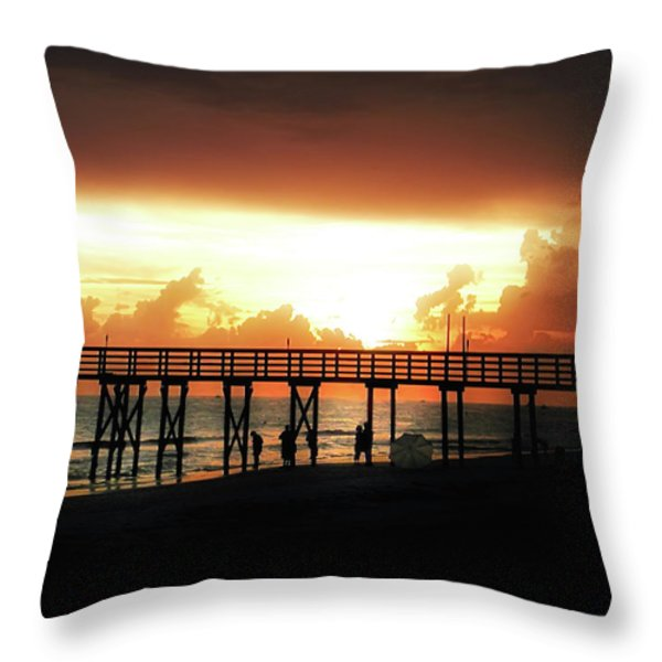 Sunset At The Pier Throw Pillow by Bill Cannon