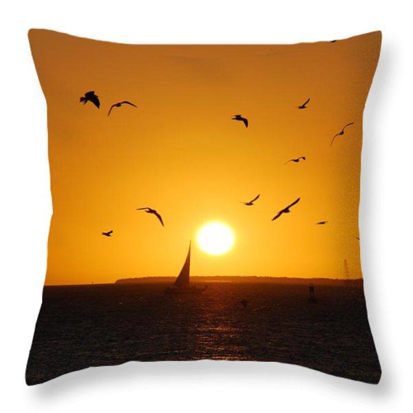 Sunset Birds Key West Throw Pillow by Susanne Van Hulst