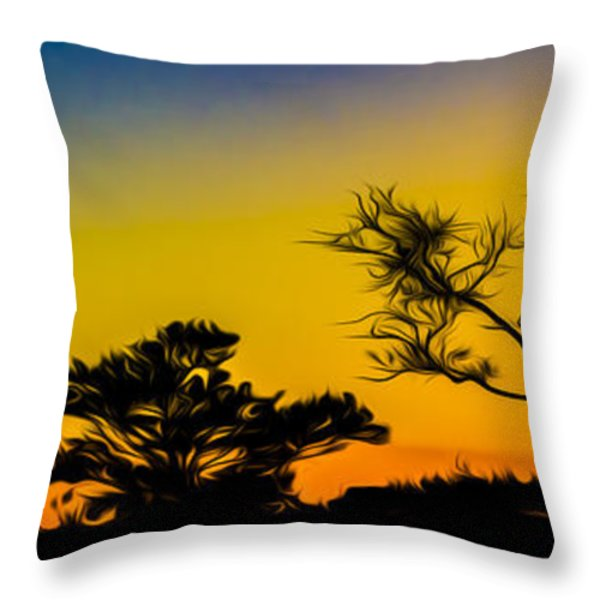 Sunset Fantasy Throw Pillow by Debra and Dave Vanderlaan