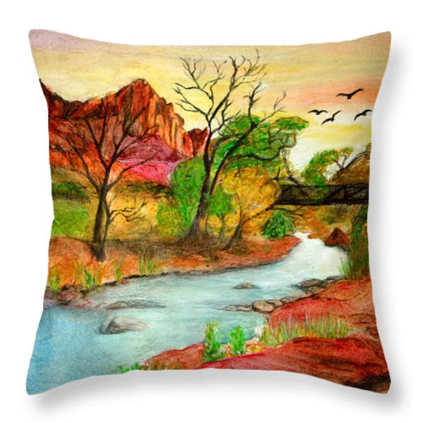 Sunset In Zion Throw Pillow by Joanna Aud