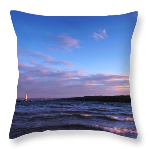 Sunset on Cayuga Lake Ithaca Throw Pillow by Paul Ge