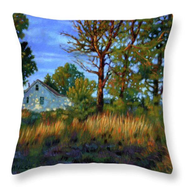 Sunset On Country Home Throw Pillow by John Lautermilch