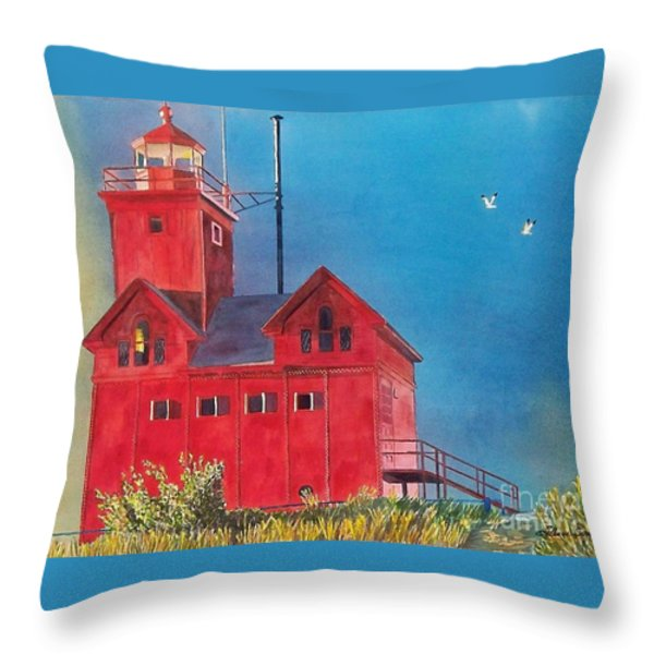 Sunset On Holland Light Throw Pillow by LeAnne Sowa