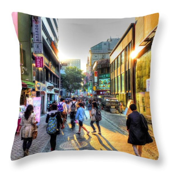 Sunset on the Streets of Seoul Throw Pillow by Michael Garyet