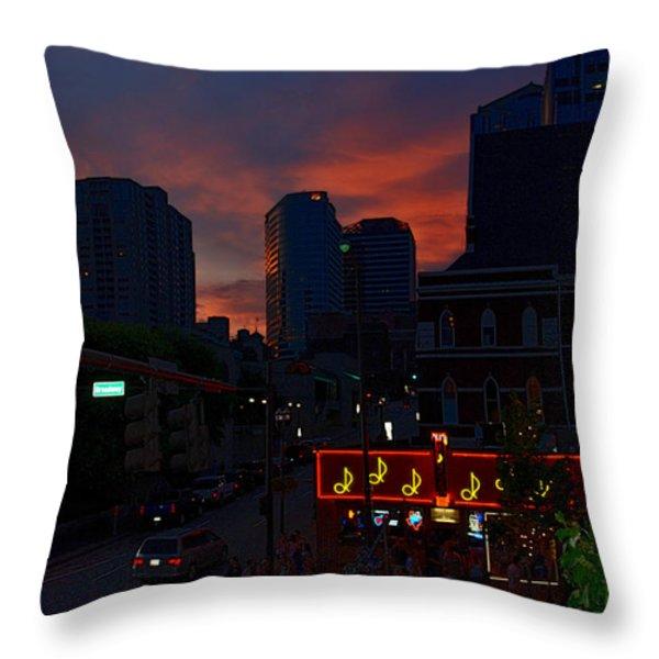 Sunset Over Nashville Throw Pillow by Susanne Van Hulst