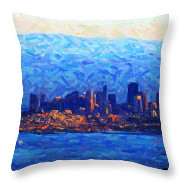 Sunset Over San Francisco Bay Throw Pillow by Wingsdomain Art and Photography