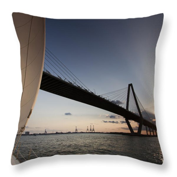 Sunset Over the Cooper River Bridge Charleston SC Throw Pillow by Dustin K Ryan