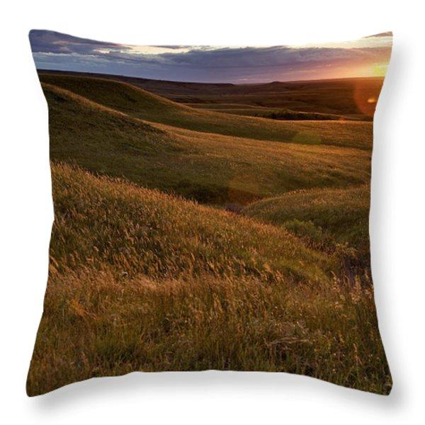 Sunset Over The Kansas Prairie Throw Pillow by Jim Richardson