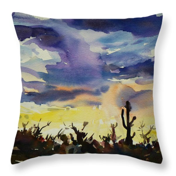 Sunset Sonora Throw Pillow by Xueling Zou