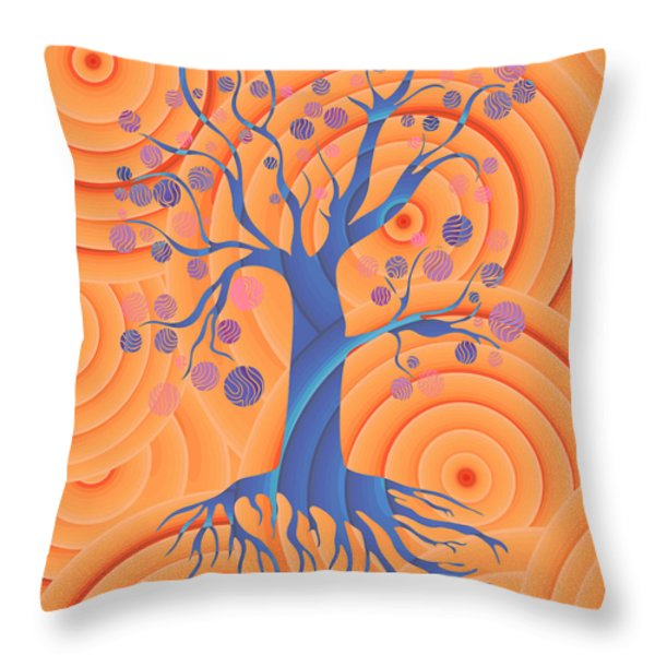 Throw Pillow featuring the painting Sunset Tree by Frank Tschakert