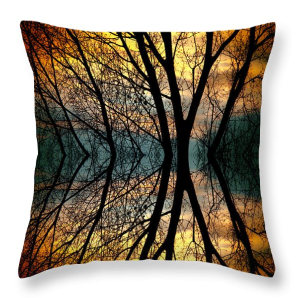 Sunset Tree Silhouette Abstract 3 Throw Pillow by James BO  Insogna