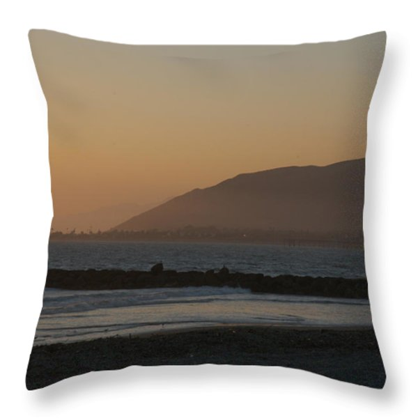 Sunset View Over The Pacific Ocean Throw Pillow by Stacy Gold