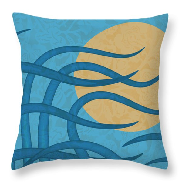 Throw Pillow featuring the painting Sunset Waves by Frank Tschakert
