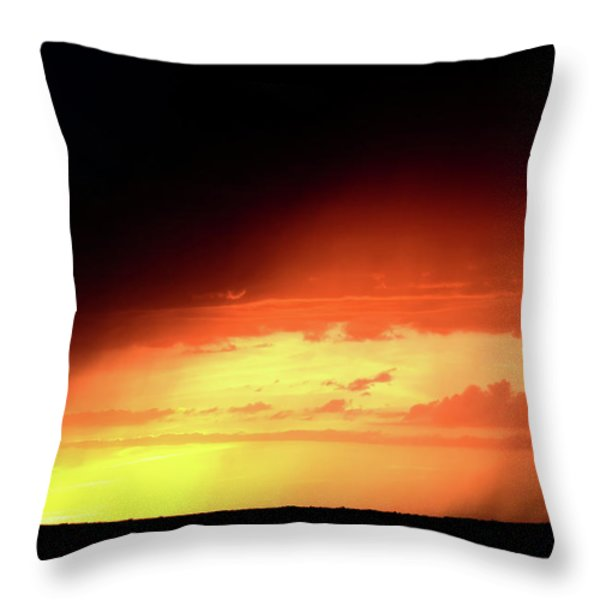 Sunset With Rain In Scenic Saskatchewan Throw Pillow by Mark Duffy