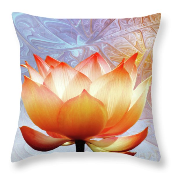 Sunshine Lotus Throw Pillow by Photodream Art