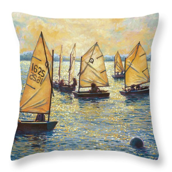 Sunwashed Sailors Throw Pillow by Marguerite Chadwick-Juner