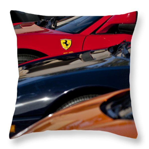 Supercars Ferrari Emblem Throw Pillow by Jill Reger