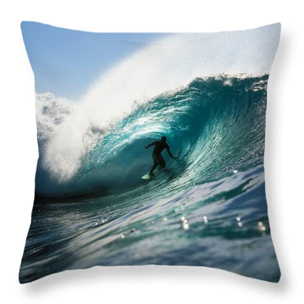 Surfer At Pipeline Throw Pillow by Vince Cavataio - Printscapes
