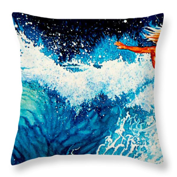 Surfer Girl Throw Pillow by Hanne Lore Koehler