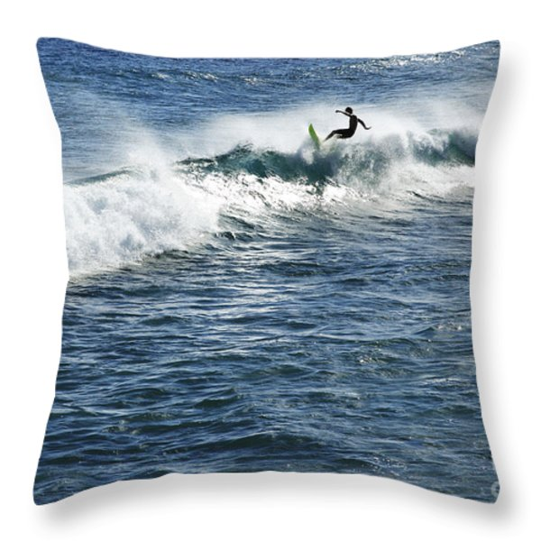 Surfer riding a wave Throw Pillow by Brandon Tabiolo - Printscapes